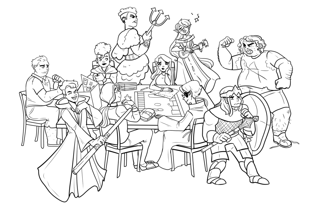 "The web artist known as ""Gelatinn"" made this sketch of the principal characters in Dungeon Party and their in-game avatars."